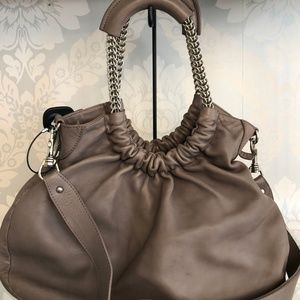 STUART WEITZMAN Taupe Leather Satchel Handbag